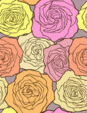 Multicolored roses. Seamless vector pattern. Royalty Free Stock Image