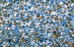 Multicolored round pebbles on the beach. Beautiful background stock photography