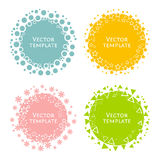 Multicolored round templates for text. Multicolored isolated round templates for presentation. Pink, orange, blue and green circles with curly edges. Vector Stock Photo