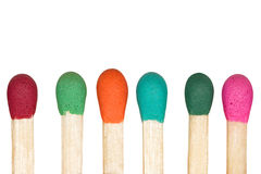Multicolored row of matches Royalty Free Stock Photo