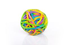 Multicolored rubber band ball  on white Royalty Free Stock Image