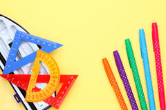 Multicolored rulers and pen Stock Photo