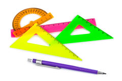Multicolored rulers and pencil Stock Images