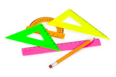 Multicolored rulers and pencil Royalty Free Stock Photography