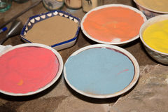 Multicolored sand for traditional souvenirs in Jordan Royalty Free Stock Photos