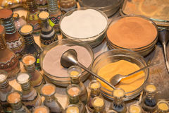 Multicolored sand for traditional souvenirs in Jordan Royalty Free Stock Photo