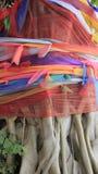 Multicolored Satijn op Bodhi-Boom stock afbeelding