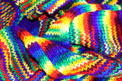 Multicolored scarf. A winter scarf made from multicolored wool Royalty Free Stock Image