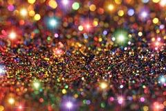 Multicolored schitter en Sterrenachtergrond Stock Afbeelding