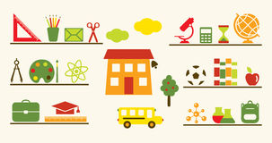 Multicolored school objects set. Stock Photography