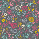 Multicolored seamless pattern with fashionable things. Stock Photo