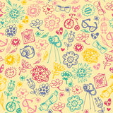 Multicolored seamless pattern with fashionable things. Royalty Free Stock Photography