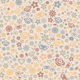 Multicolored seamless pattern of flowers Stock Photos