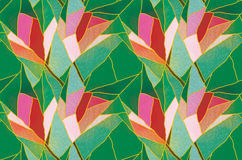Multicolored seamless stained glass with floral motif, pattern vector Stock Photos