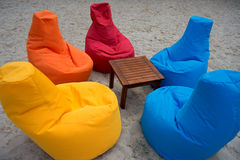 Multicolored seats on the beach Royalty Free Stock Photo