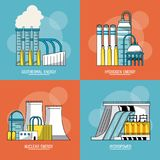 Multicolored sections background with type of renewable energy. Vector illustration royalty free illustration