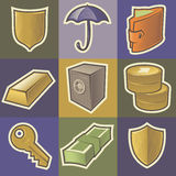 Multicolored security icons Stock Photography