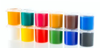 Multicolored set of gouache painting Stock Photo