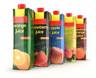 Multicolored set of juice carton box Stock Image