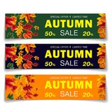 Colorful realistic coupons for seasonal sale. Multicolored set of promotion coupons for autumn sale with special offer in 20 and 50 percent stock illustration