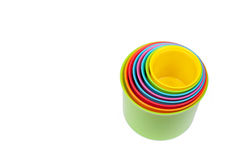 Multicolored shape sorter toy isolated. On white Royalty Free Stock Photos