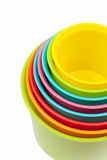 Multicolored shape sorter toy isolated. On white Royalty Free Stock Images