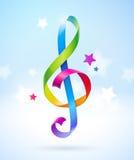 Multicolored shape of treble clef. Colored glossy ribbons in the shape of treble clef Royalty Free Stock Photos