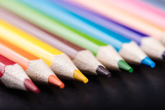 Multicolored sharpened pencils close-up Royalty Free Stock Photo
