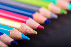 Multicolored sharpened pencils close-up Royalty Free Stock Photography