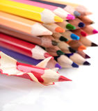 Multicolored sharpened pencils close-up Royalty Free Stock Images