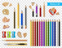 Free Multicolored Sharpened Pencils Transparent Set Royalty Free Stock Image - 113791436