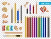 Multicolored Sharpened Pencils Transparent Set vector illustration