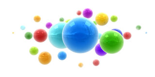 Multicolored shinny spheres. 3D rendering of multicolored shinny spheres floating in midair Royalty Free Stock Photography