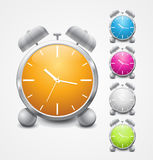 Multicolored shiny alarm clock icon design. Set of multicolored shiny alarm clock icon design. EPS 10 stock illustration