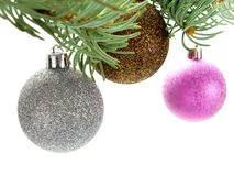 Multicolored shiny baubles hanging on Christmas tr Royalty Free Stock Images