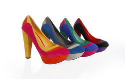 Multicolored shoes stock images