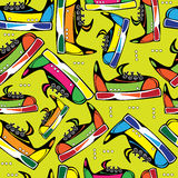 Multicolored shoes youth seamless pattern.  Royalty Free Stock Photo