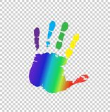 Multicolored silhouette of human handprint on transparent stock illustration