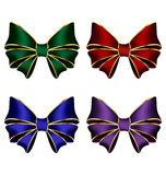 Multicolored silk bows. Four multicolored silk bows isolated on white background Royalty Free Stock Images