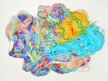 Multicolored silk threads. Colorful background texture Stock Photography