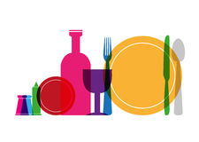 Multicolored Silverware and Glassware concept Royalty Free Stock Photos