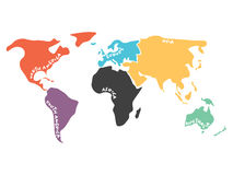 Multicolored simplified world map divided to continents Stock Image