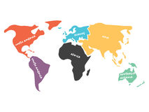 Multicolored simplified world map divided to continents Royalty Free Stock Photos