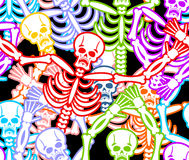 Multicolored skeleton ornament. Day of the Dead seamless patter Stock Image
