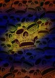 Multicolored skull frame Stock Image