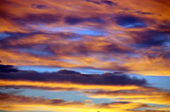 Multicolored sky. Clouds in the multicolored sky Royalty Free Stock Images
