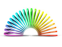 Multicolored slinky isolated on white background Royalty Free Stock Photography