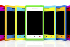 Multicolored smartphones Royalty Free Stock Photos