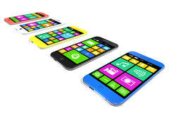 Multicolored smartphones with a variety of software applications Stock Photo