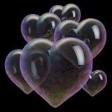 Multicolored soap bubble hearts Stock Photography